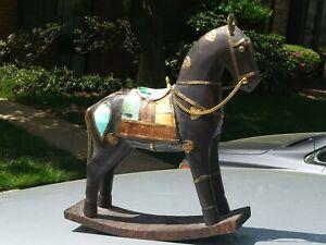 India Hand Carved Wood Rocking Horse Large Statue With Brass Bone Decor Ebay