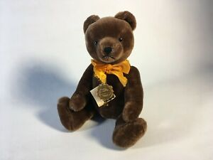 VTG-12-034-West-Germany-Hermann-Chocolate-Brown-Mohair-Teddy-Bear-80-039-s-Rubin-Tags