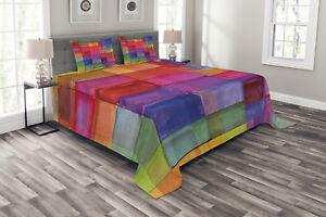 Landschaft Tagesdecke und Kissenbezüge Set Morgen Regenbogenfarben Druck