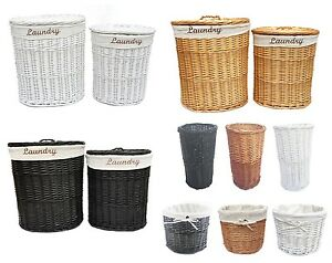 Brown White Black Oval Wicker Laundry Basket With Lid