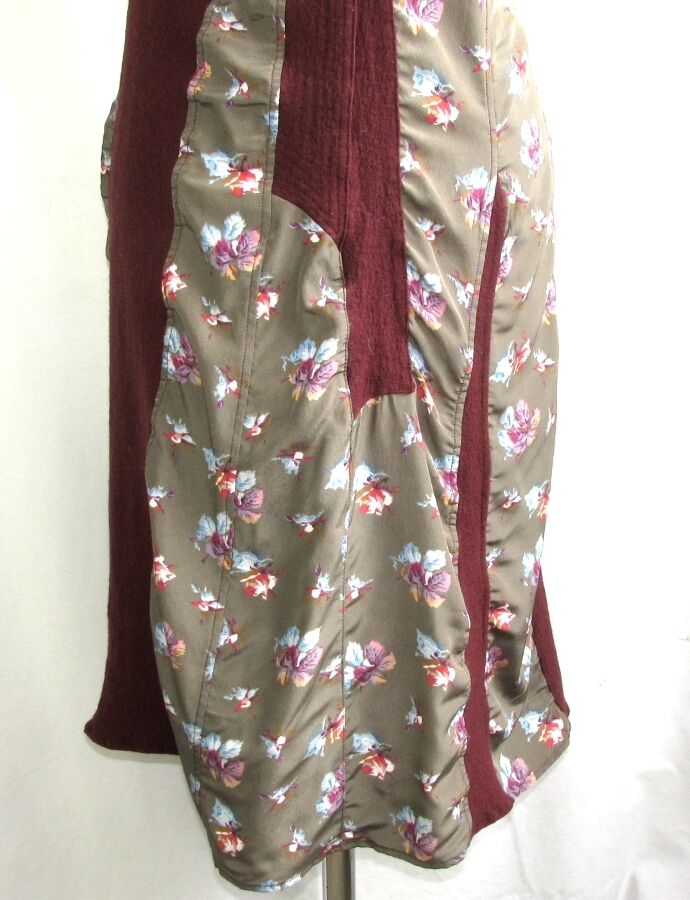 COTELAC DRESS FITTINGS WOOL BORDEAUX & PATTERNS PATTERNS PATTERNS FLORAL T 3 = 40 EXCELLENT 866edb