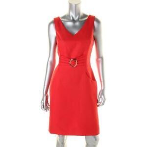 To Work New Red 12 Womens Jurk Wear Woven Mouwloze Tahari dWrxoCeB