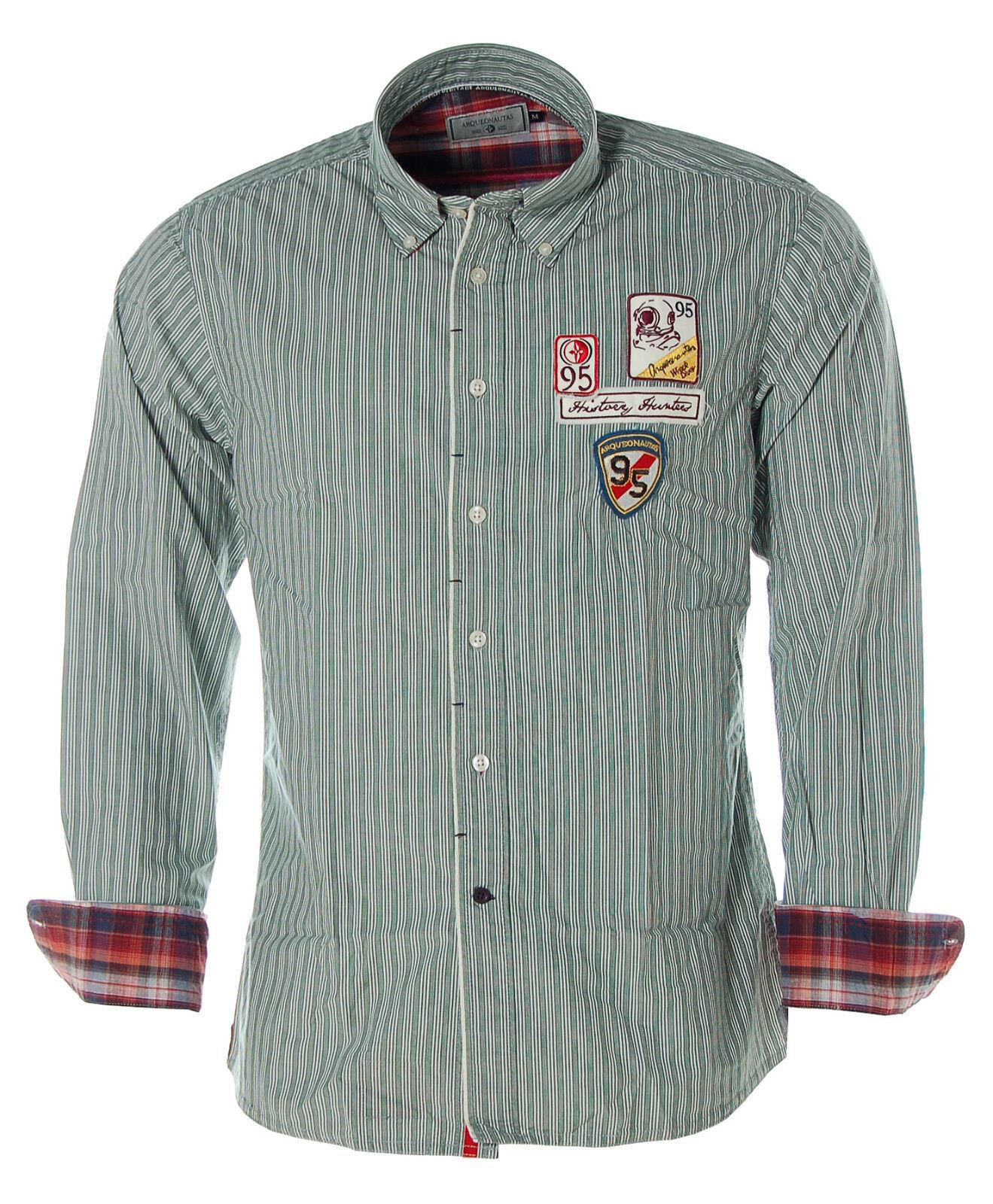 A1518 Arqueonautas Streifenhemd Streifen Hemd M grün NEU     | Garantiere Qualität und Quantität