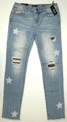 NWT Miss Me Girls Jeans Light Blue Stars Size 12 16 Ankle Skinny Stretch NEW
