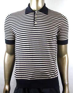 296452b6e Gucci Men's Blue/Beige Cotton Cashmere Fine Striped Polo Shirt ...