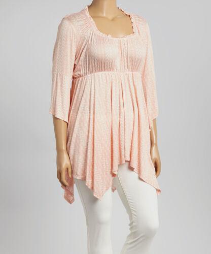 New Women/'s Plus Size Light Peach Print 3//4 Sleeve Top Blouse Sizes 1X 2X