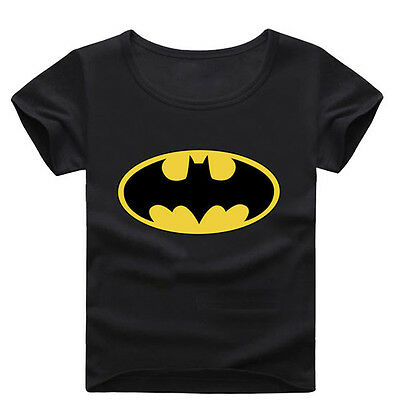 Kids Baby Boys Cotton Batman Superman Spiderman T-shirts Superhero Tops Tee 2-7Y