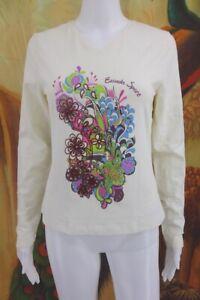 ESCADA-SPORT-Cute-Floral-Long-Sleeve-Scoop-Neck-Crystal-Encrusted-Shirt-Top-Sz-M