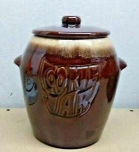MCCOY USA BROWN GLAZED POTTERY CROCK COOKIE JAR