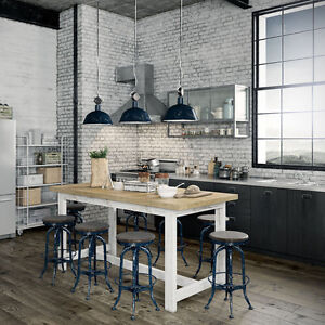 Phenomenal Details About Rustic Wooden Kitchen Island Desk High Bench Bar Pub Table Solid Timber 5Cm Top Theyellowbook Wood Chair Design Ideas Theyellowbookinfo