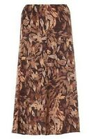 Ex M&s Donegal Brown Leaft Print Fit N' Flare Bias Cut Long Lightweight Skirt 12