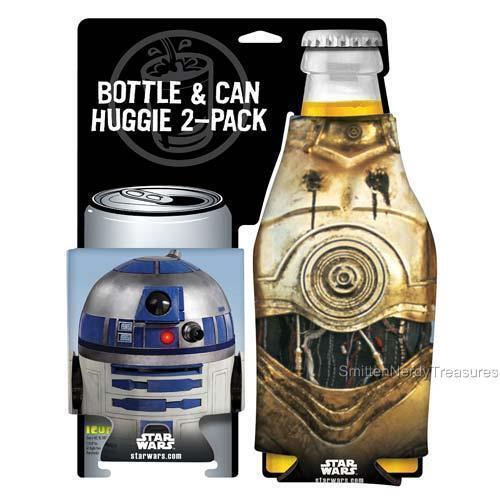STAR WARS Licensed 2pc R2-D2 & C-3PO DROID Bottle CAN Hugger COOLER Cozy SET