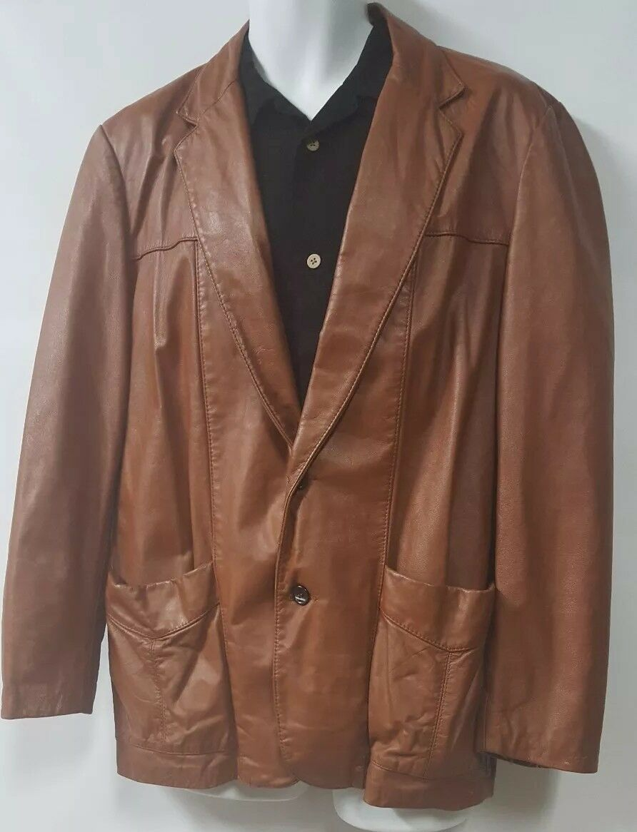SILTON  Brown Leather 70s  Blazer Sport Coat Siz… - image 2
