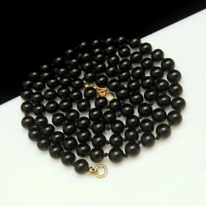 MONET-Vintage-Necklace-Knotted-Black-Glass-Beads-30-inch-Long-High-Quality