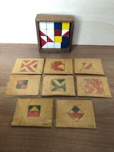 Antico-gioco-con-dadi-e-figure-geometriche-16-dadi-gioco-vintage-anni-30
