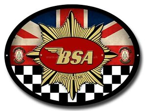 BSA GOLD STAR OVAL METAL SIGN.OFFICIALLY LICENSED B.S.A PRODUCT. &™ BSA