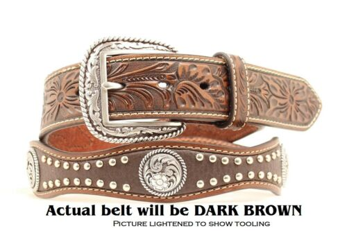 Cowboy A10116 14 Ariat SCALLOP LEATHER ~ Silver Buckle ~ MAN WESTERN BELT