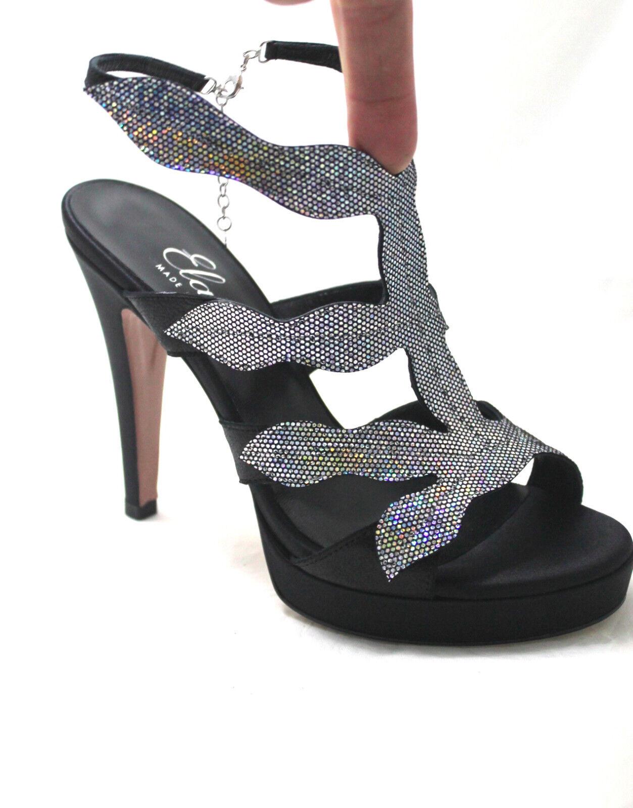 sandalo elegante ELATA 18102 tacco saten nero, argento, stras tacco 18102 alto e plato 4b5672