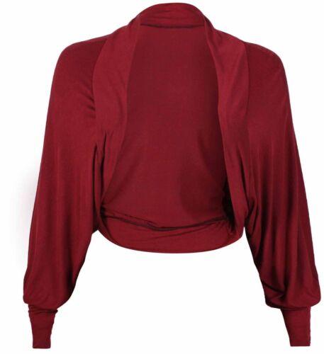 Femme Chauve-souris Haussement Manches Longues Femme Jersey Bolero Cardigan Femme Taille 8-26
