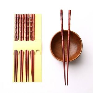 Pack-lot-of-5-pairs-bamboo-joint-eco-friendly-dark-red-Chinese-chopsticks