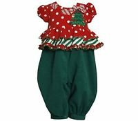 Bonnie Jean Girls Christmas Tree Holiday Romper Party Pants Jumpsuit Outfit 2t