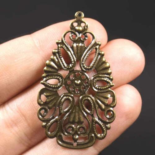 10 ou 30 Pendentif filigrane estampe goutte fleur 48mm x 28mm métal bronze