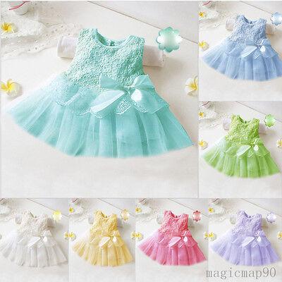 Baby Kinder Mädchen Prinzessin Sommer Kleid Blumen Partykleid Ballkleid Neu
