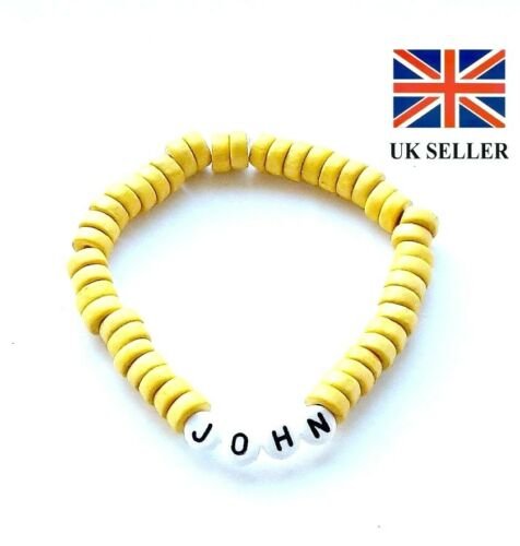 COLOR MENS PERSONALISED YELLOW WOODEN BRACELET BIRTHDAY//PARTY BAG GIFT–ANY NAME