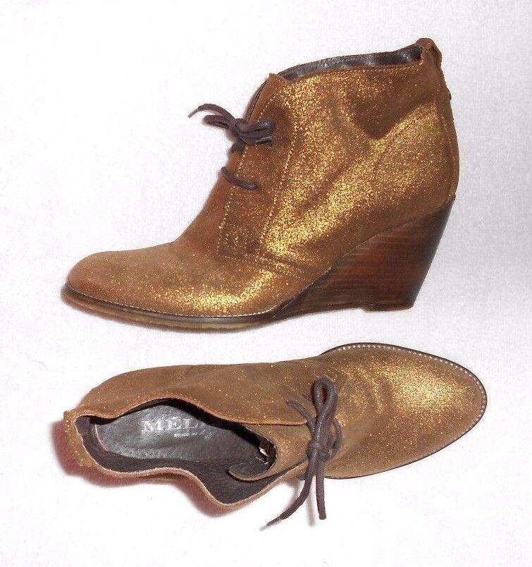 lacets à compensées bottines MELINE cuir TBE 39 P doré