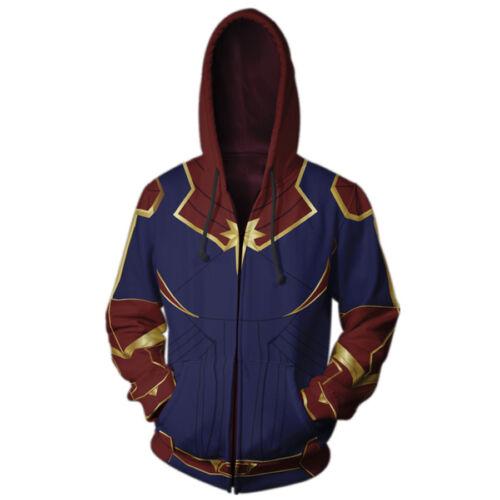 Cosplay Captain Marvel Hoodie Sweatshirts Costume Hooded Sweater Zipper Jackets
