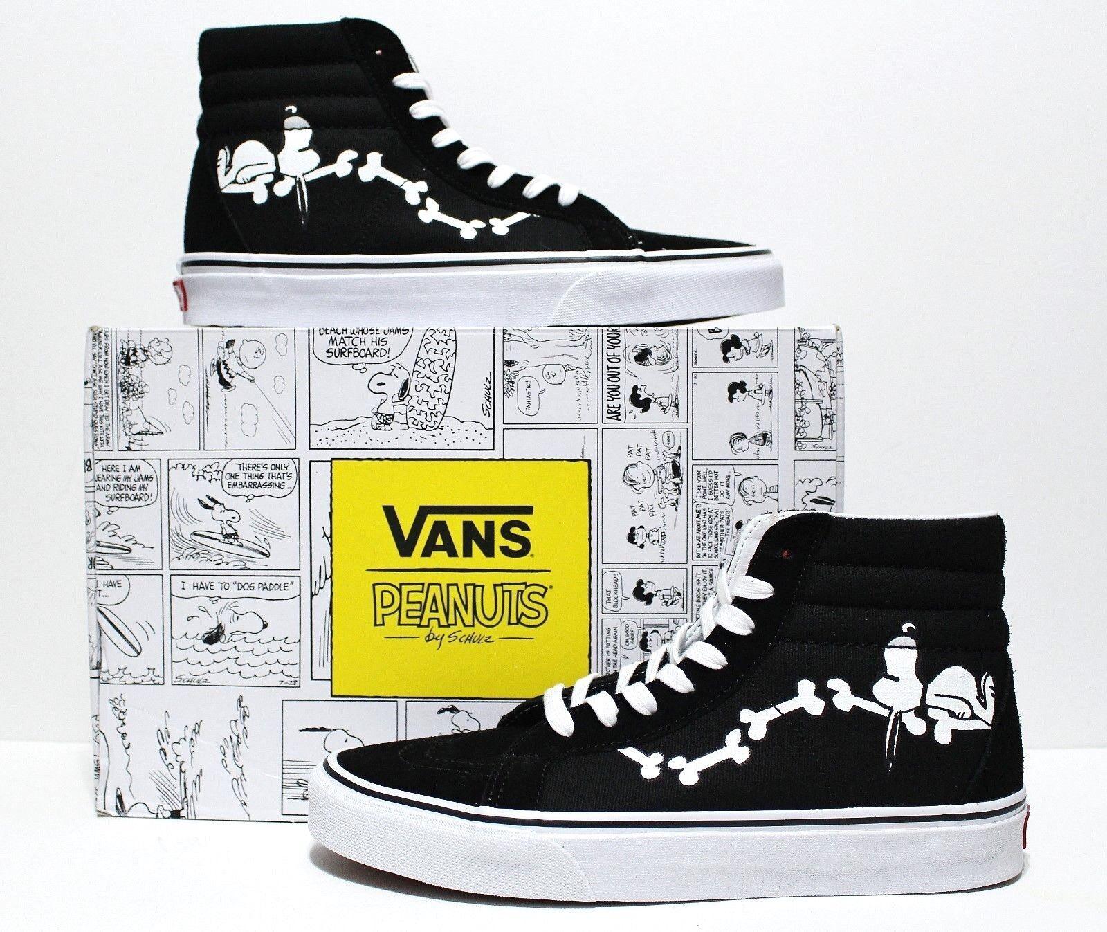 Vans X Peanuts SK8 Hi Reissue Snoopy Bones Black Men's Size 10.5