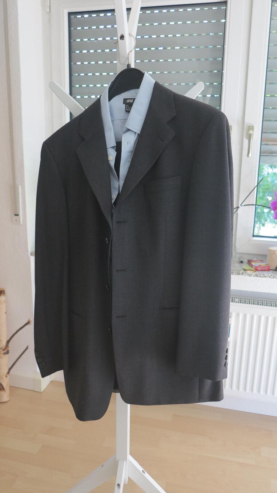 Herren-Anzug (jacke & Hose), inkl. Hemd, kaum getragen - anthrazit