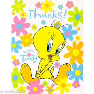tweety bird thank you notes 8 looney tunes birthday party