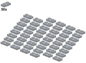 Used-LEGO-Plates-Lightbluishgray-3023-10-1x2-50Stk-Platte-Hellgra