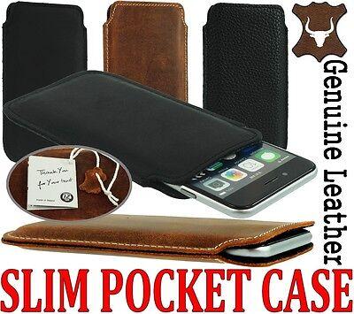 SLIM 3C PREMIUM GENUINE LEATHER POCKET CASE COVER SLEEVE POUCH - RANGE OF MODELS