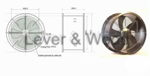 Commercial Kitchen Canopy Extractor Cased Axial Fan 250-630mm Speed Controller