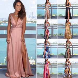 Women-Maxi-Boho-Floral-Summer-Beach-Long-Slit-Evening-Cocktail-Party-Sun-Dress