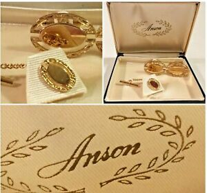 Vintage-Collectible-Gold-Anson-Cuff-Links-Tie-Clasp-Tack-Set-Dress-SKU-037-10