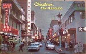 1960s-Chrome-Postcard-Cars-Downtown-Chinatown-San-Francisco-California-CA