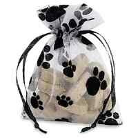 10 Organza Gift Bags With Dots Or Paw Prints Small,medium, Large- Black & White