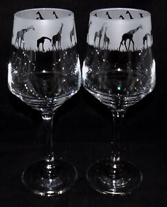 New-034-GIRAFFE-034-Etched-Large-Wine-Glass-es-Free-Gift-Box-Large-390mls-Glass
