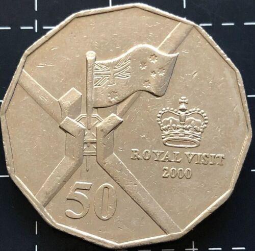 2000 AUSTRALIAN 50 CENT COIN QUEEN ROYAL VISIT ERROR RIM STRIKE SPLIT