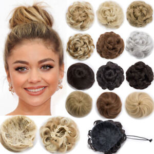 100-Real-Natural-Clip-on-in-Messy-Hair-Bun-Extension-Chignon-Hair-Extension-mcq