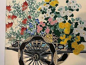 Woodblock-Prints-Pair-Flower-Cart-in-Autumn-in-Spring-Japan-Kin-u-Takeshi