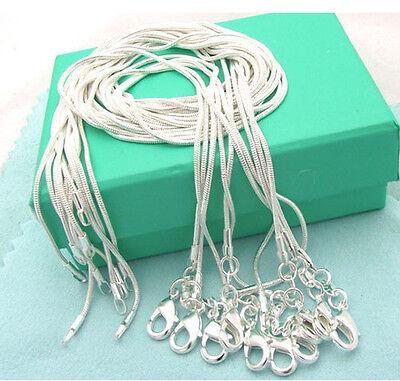 "snake 925sterling solid silver 10pcs 1mm snake chains 16""-24"" necklace NJ028"