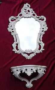 Antik Wandspiegel Mit Wandkonsole Spiegel 50x76 Antik Barock Spiegelablage Weiß Ablagen, Schalen & Körbe Konsolen