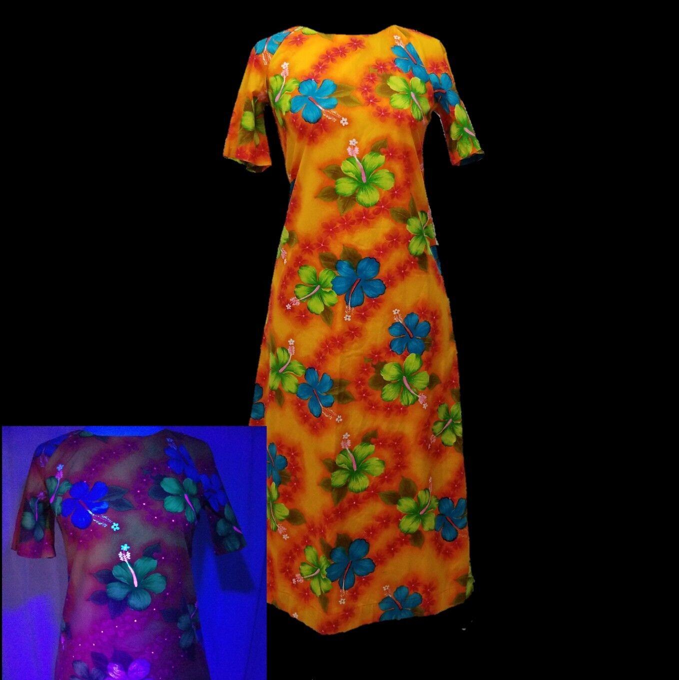 Vintage Made In Hawaii Hawaiian Womens Dress Muu Muu Hibiscus Floral Aloha UV
