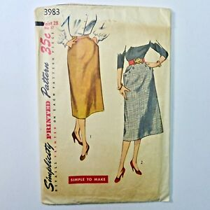 Vintage-50s-Simplicity-Sewing-Pattern-Slim-Skirt-SIMPLE-TO-MAKE-Waist-28-Hip-37