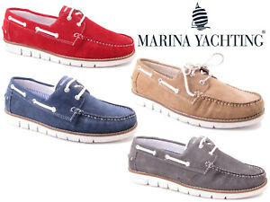 Marina-Yachting-Bateau-Chaussures-homme-en-cuir-en-Daim-a-Lacets-Pont-Moccasin-Loafers