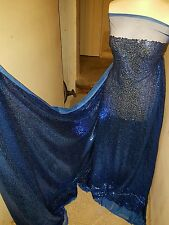 """1M NEW Royalblue TULLE  FULLY  SEQUINED  SMALL SEQUIN  DRESS FABRIC 58"""" WIDE"""